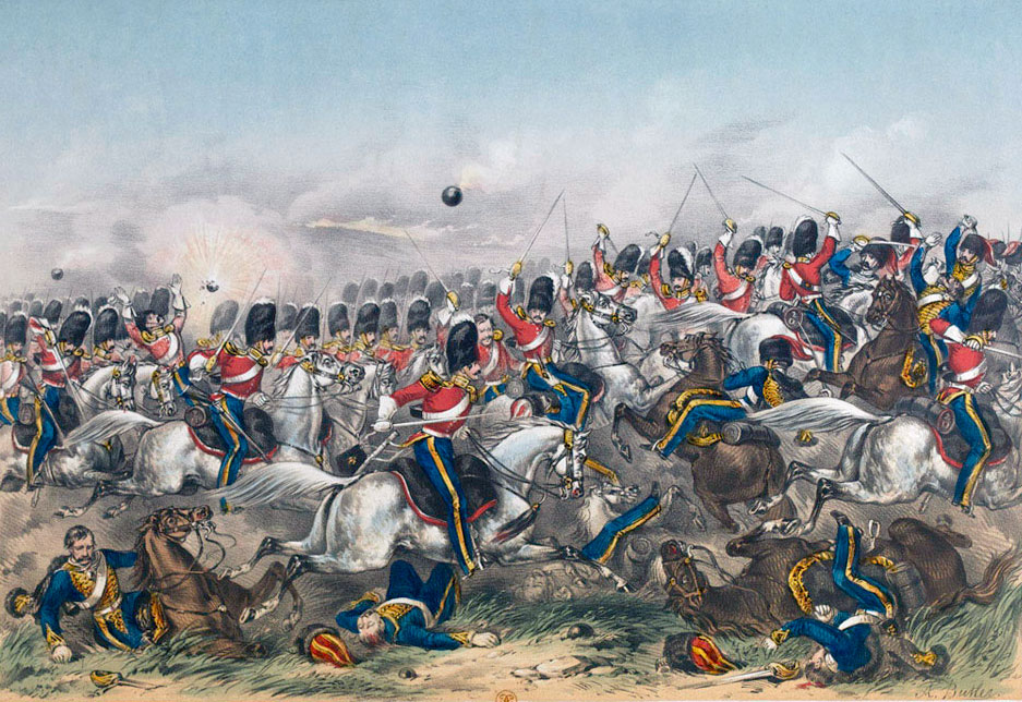 Royal Scots Greys in the Charge of the Heavy Brigade at the Battle of Balaclava on 25th October 1854 in the Crimean War