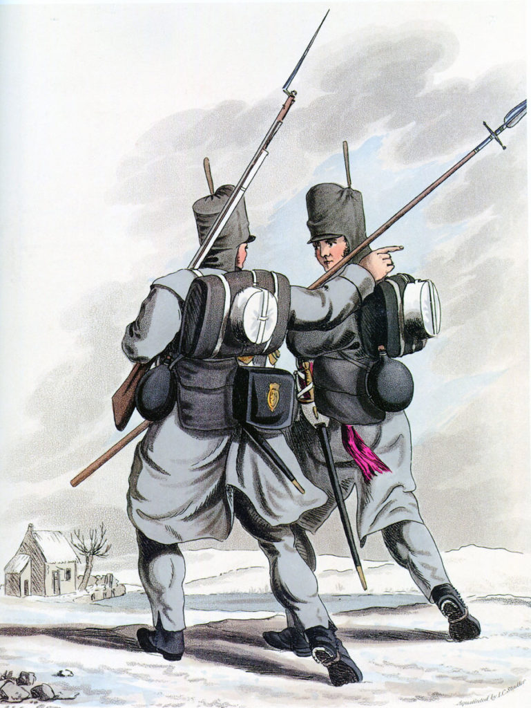 British 1st Foot Guards: Sortie from Bayonne on 14th April 1814 in the Peninsular War: picture by Hamilton Smith
