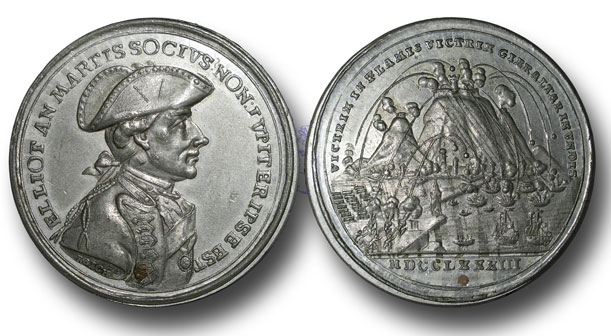 Medal struck in London by Lewis Pingo commemorating the Great Siege of Gibraltar from 1779 to 1783 during the American Revolutionary War: The head is of the governor, George Eliott, Lord Heathfield