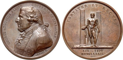 Medal struck in London by Droz commemorating the Great Siege of Gibraltar from 1779 to 1783 during the American Revolutionary War: The head is of the governor, George Eliott, Lord Heathfield