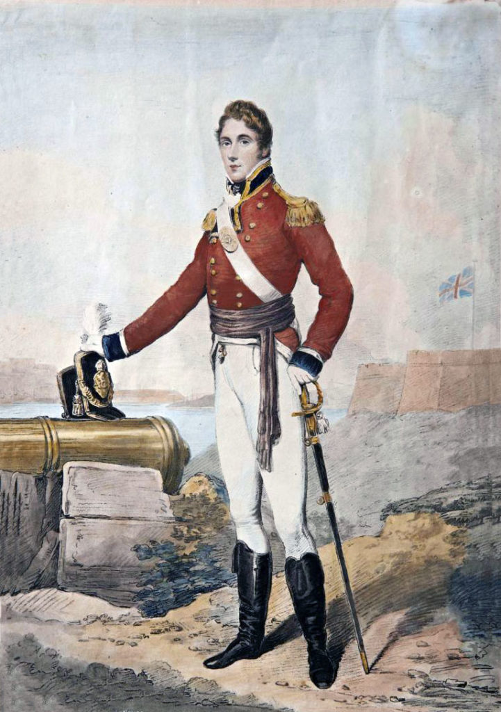 Captain Sir Henry Sullivan, Coldstream Guards, died of wounds after the Sortie from Bayonne on 14th April 1814 in the Peninsular War: portrait by Henry Edridge
