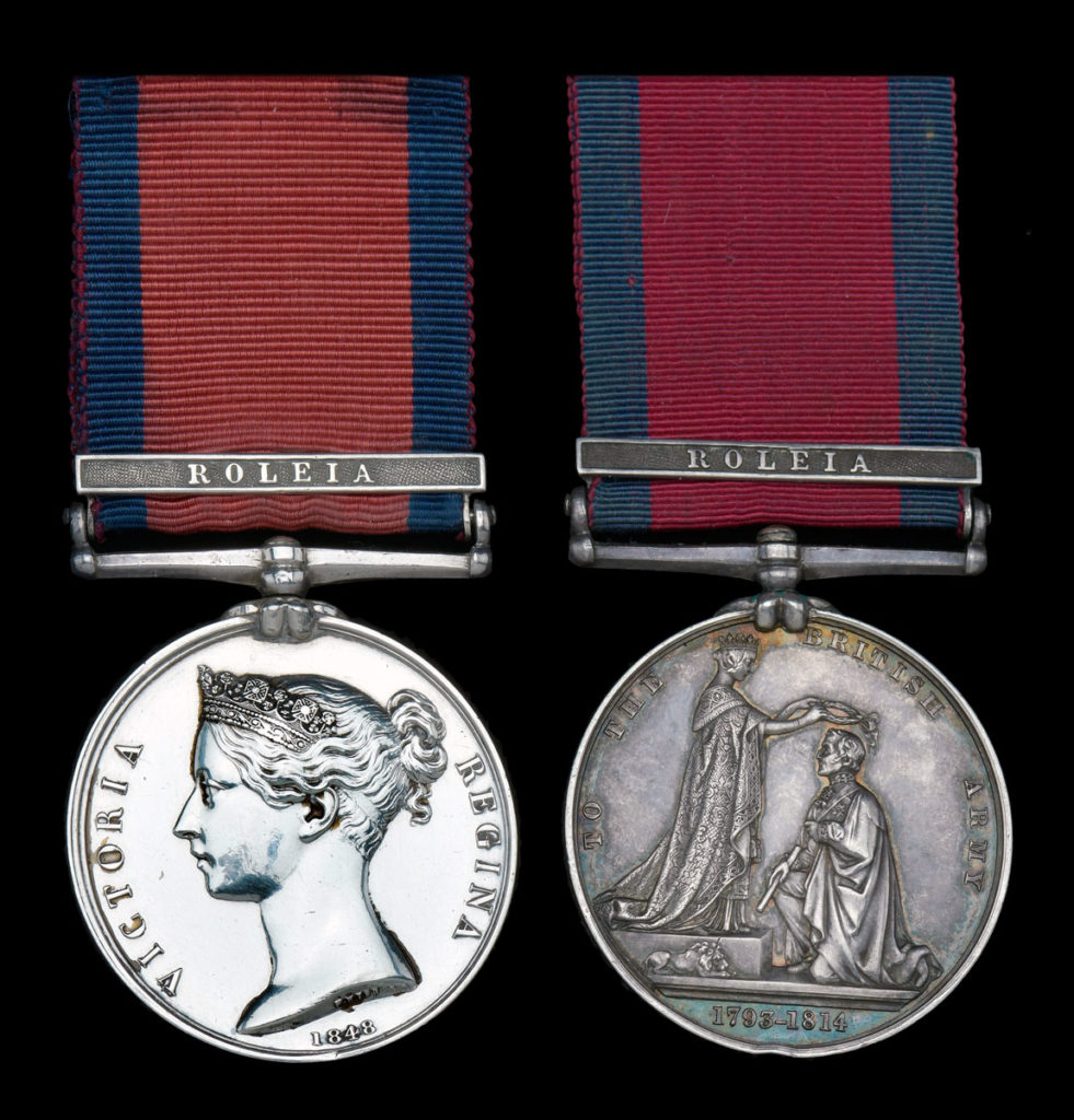 Military General Service Medal with clasp for the Battle of Roliça on 17th August 1808 in the Peninsular War
