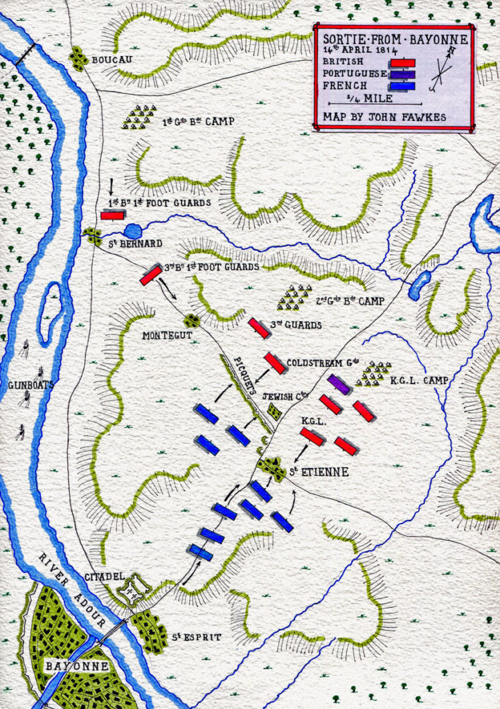 Map of the Sortie from Bayonne on 14th April 1814 in the Peninsular War: map by John Fawkes