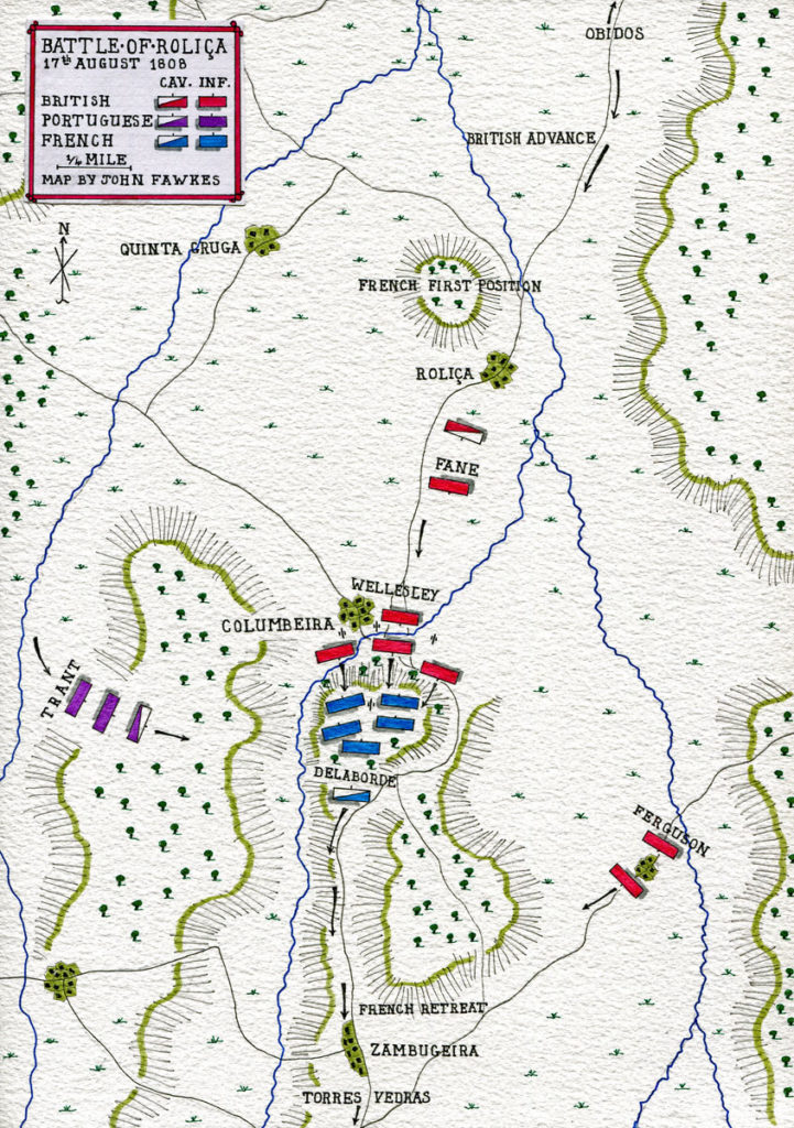 Map of the Battle of Roliça on 17th August 1808 in the Peninsular War: map by John Fawkes