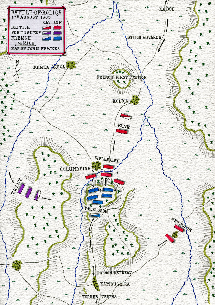 21st August 1808 Portugal BATTLE OF VIMEIRO Napoleonic Wars 1848 old map