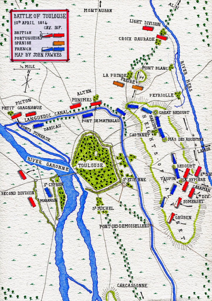 Map of the  Battle of Toulouse on 10th April 1814 in the Peninsular War: map by John Fawkes