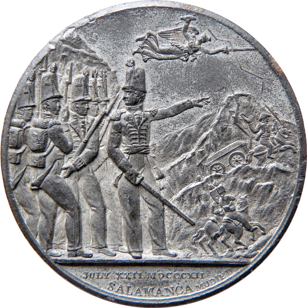 Medal issued in London commemorating the Battle of Salamanca on 22nd July 1812 during the Peninsular War, also known as the Battle of Los Arapiles or Les Arapiles