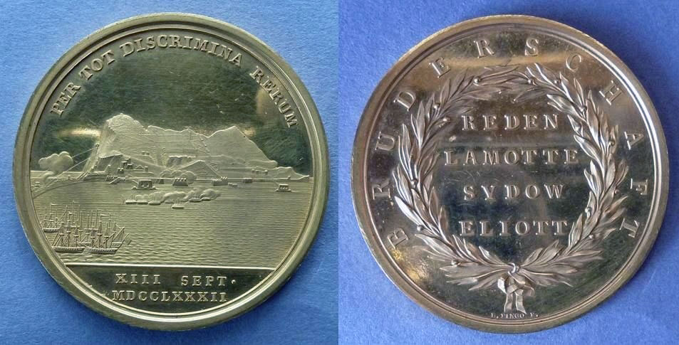 Medal struck for the senior Hanoverian officers in the garrison at the Great Siege of Gibraltar from 1779 to 1783 during the American Revolutionary War