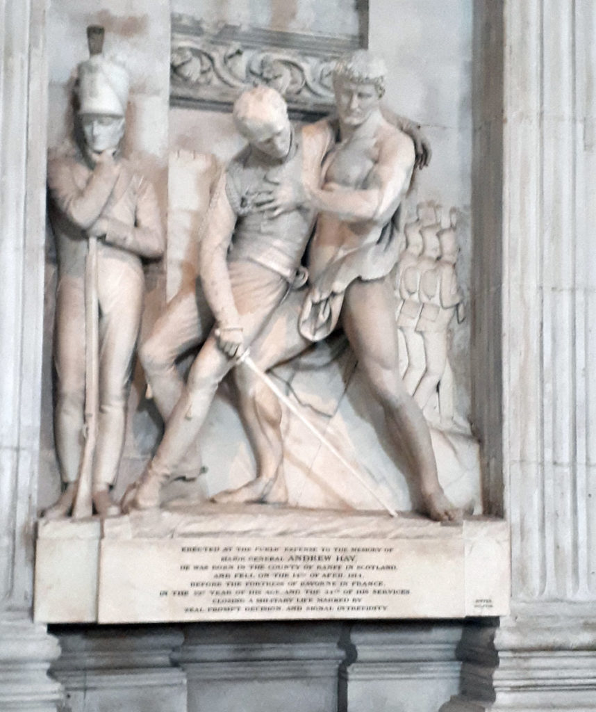 Memorial in St Paul's Cathedral to Major General Andrew Hay killed during the Sortie from Bayonne on 14th April 1814 in the Peninsular War