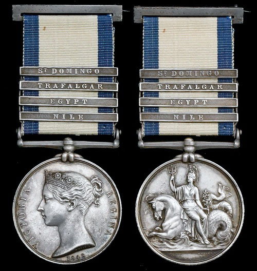 Naval General Service Medal 1848 with clasp for the Battle of the Nile on 1st August 1798 in the Napoleonic Wars