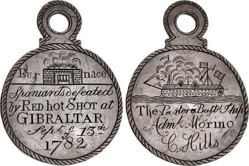 Medal struck in Gibraltar commemorating the use of 'Red Hot Shot' in the Great Siege of Gibraltar from 1779 to 1783 during the American Revolutionary War