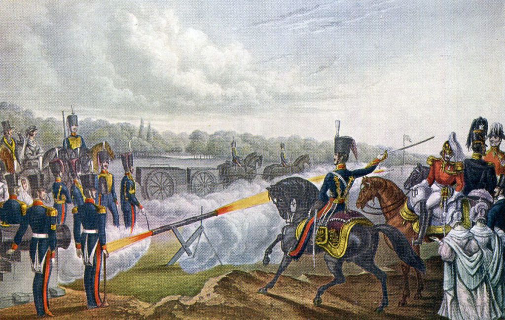 Royal Artillery firing a Congreve Rocket in the 1820s: Battle of Toulouse on 10th April 1814 in the Peninsular War