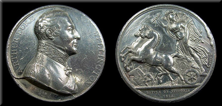 Silver Medal issued in London to commemorate the Battle of Vitoria on 21st June 1813 during the Peninsular War