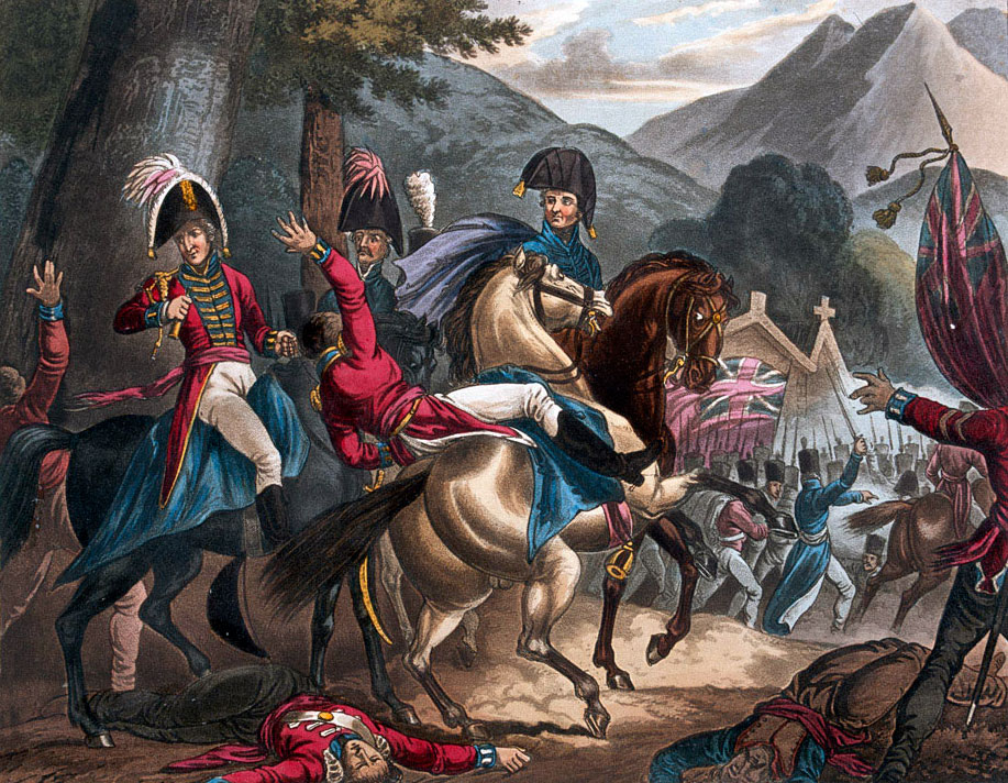 Battle of Sorauren during the Battle of the Pyrenees fought between 25th July and 2nd August 1813 in the western Pyrenees Mountains, in the Peninsular War
