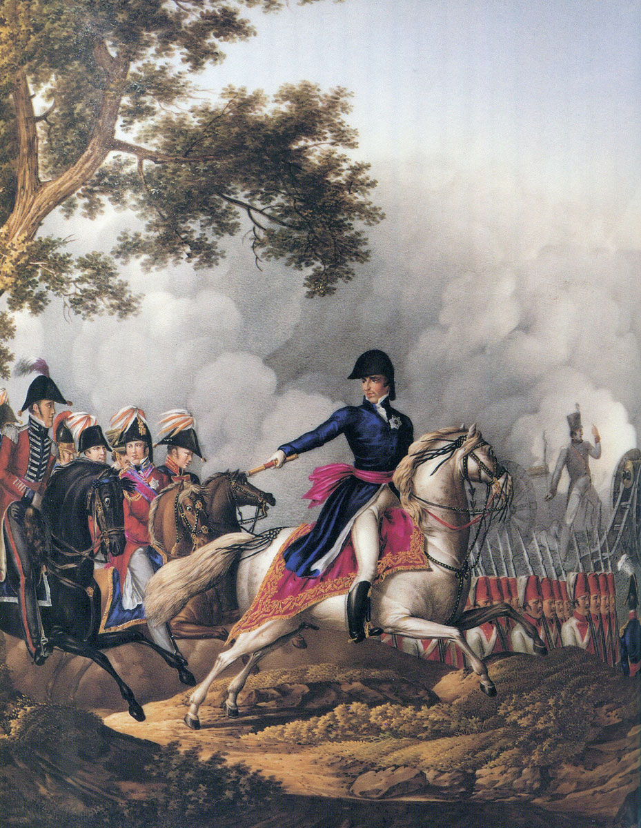 Wellington and his staff at the Battle of Vitoria on 21st June 1813 during the Peninsular War