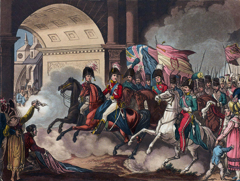 Lord Wellington enters Toulouse after the Battle of Toulouse on 10th April 1814 in the Peninsular War: picture by William Heath