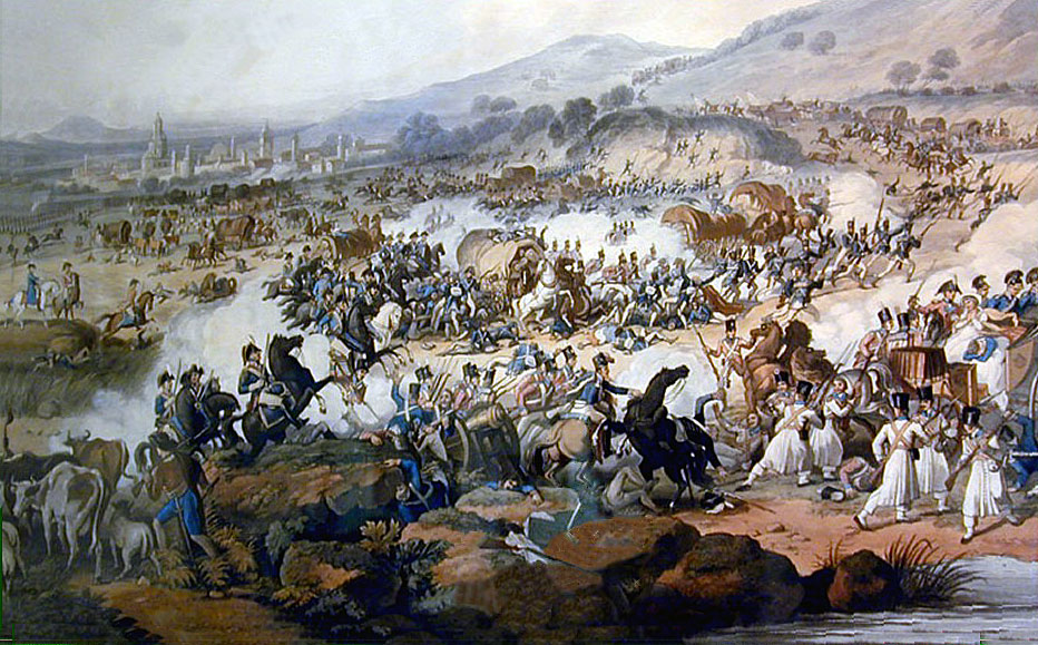 Battle of Vitoria on 21st June 1813 during the Peninsular War: picture by FC Lewis