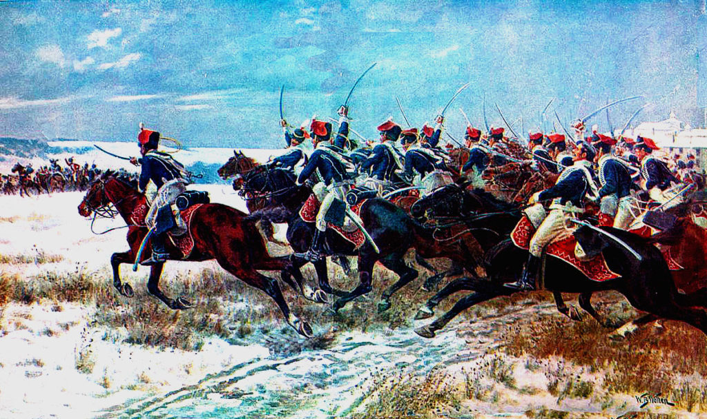 Charge of Lord Paget's force of 7th, 10th and 18th Hussars in the Battle of Benevente on 29th December 1808 in the Peninsular War: picture by William Barnes Wollen