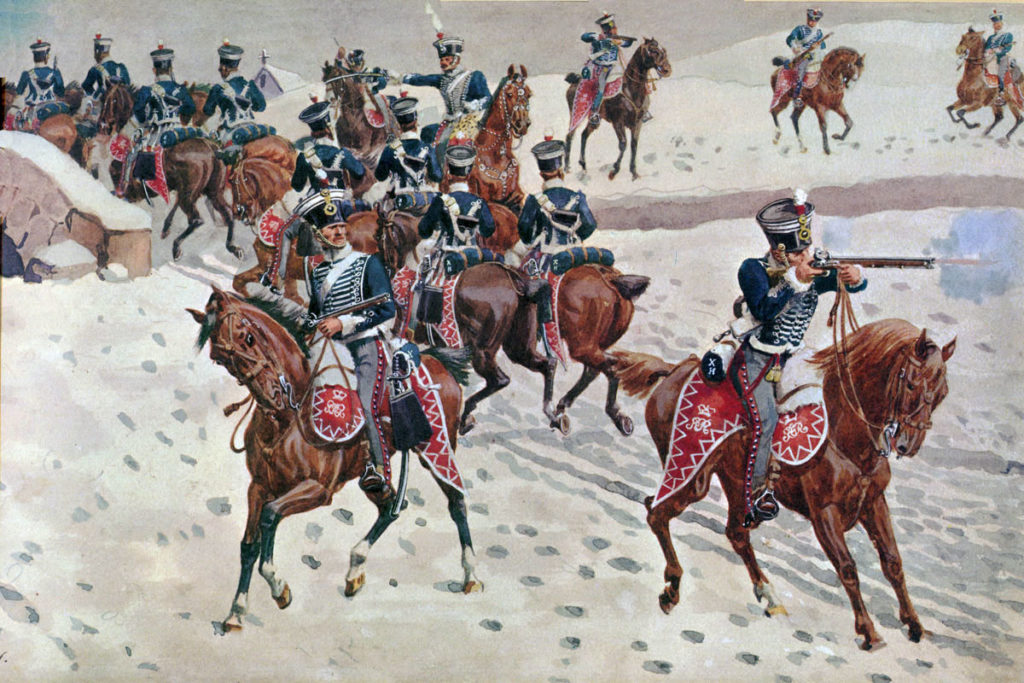 10th Hussar Piquet at the Battle of Benevente on 29th December 1808 in the Peninsular War: picture by Richard Simkin