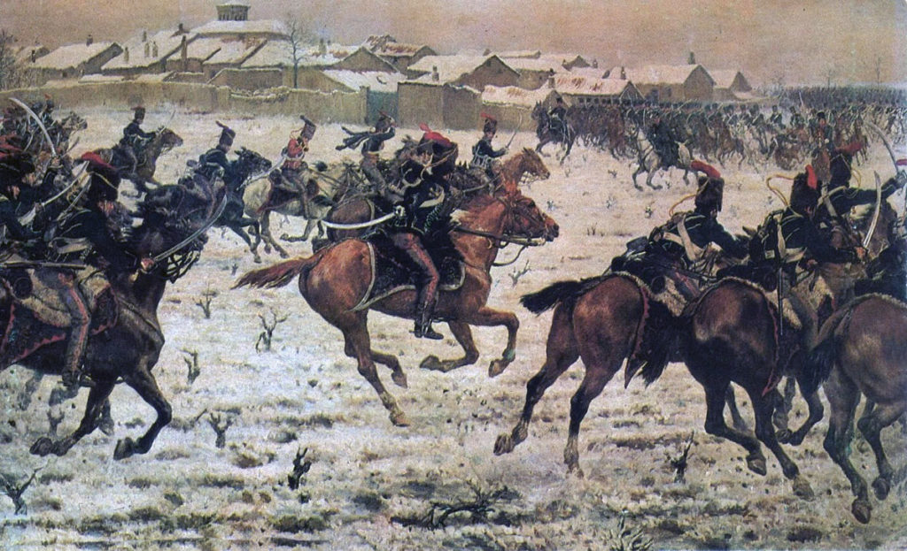 British 15th Hussars charging the French cavalry at the Battle of Sahagun on 21st December 1808 in the Peninsular War
