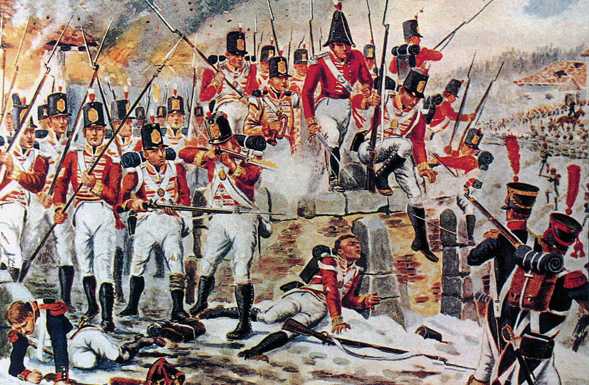 26th Foot at the Battle of Corunna on 16th January 1809 in the Peninsular War: picture by Richard Simkin