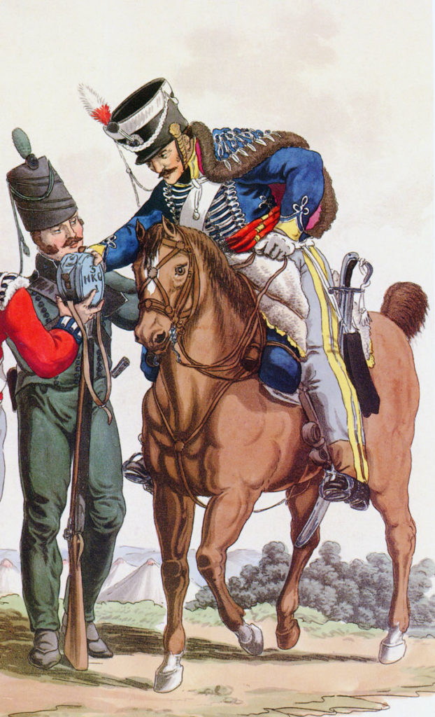 3rd King's German Legion Hussars: Battle of Benevente on 29th December 1808 in the Peninsular War: picture by Charles Hamilton Smith