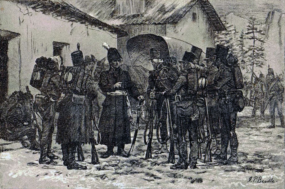 General Craufurd addressing 95th Riflemen during the Retreat to Corunna: Battle of Cacabelos on 3rd January 1809 in the Peninsular War: picture by JP Beadle