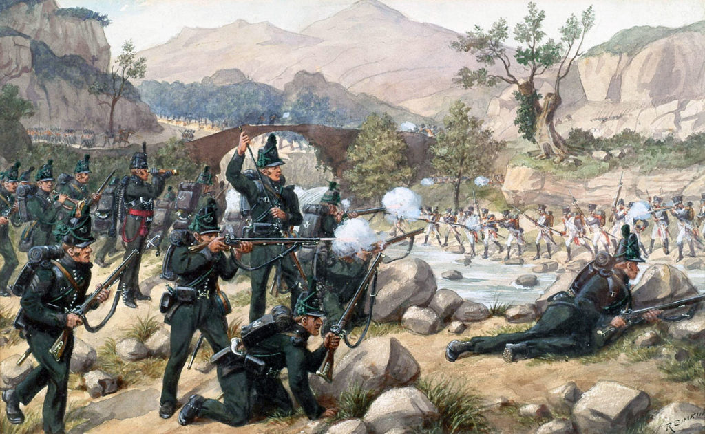 British 95th Rifles confronting the French 4th Light Infantry at the Battle of Cacabelos on 3rd January 1809 in the Peninsular War: picture by Richard Simkin