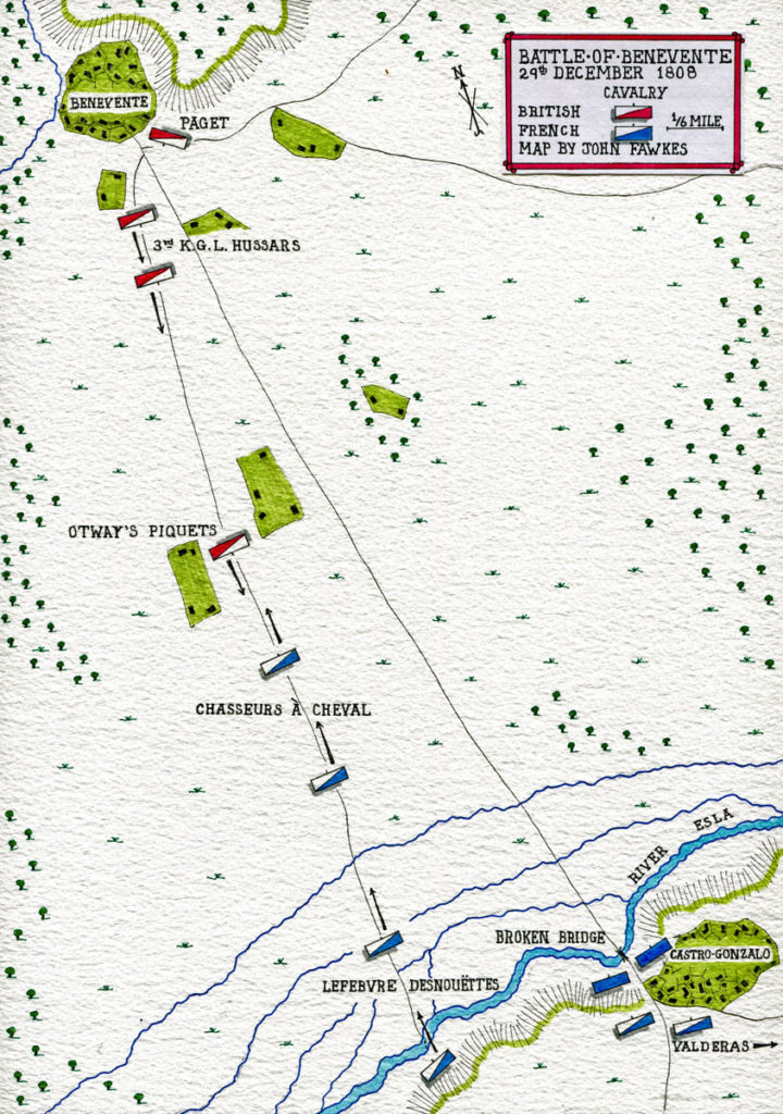 Map of the Battle of Benavente on 29th December 1808 in the Peninsular War: map by John Fawkes