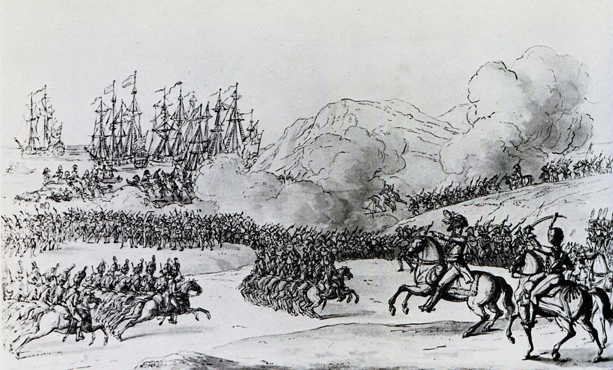 British troops going on board ship at Corunna: Battle of Corunna, also known as the Battle of Elviña, on 16th January 1809 in the Peninsular War