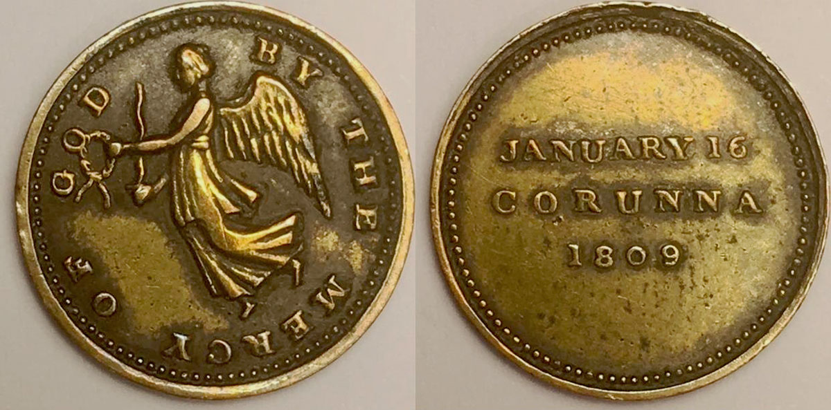 Medal issued privately to commemorate the Battle of Corunna, also known as the Battle of Elviña, on 16th January 1809 in the Peninsular War