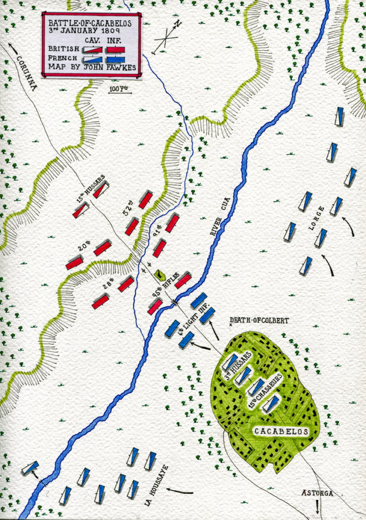 Map of the Battle of Cacabelos on 3rd January 1809 in the Peninsular War: map by John Fawkes