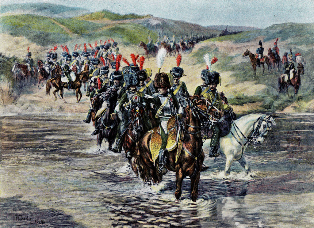 Chasseurs à Cheval of the Imperial Guard crossing the River Esla at Castro-Gonzalo in the Battle of Benevente on 29th December 1808 in the Peninsular War