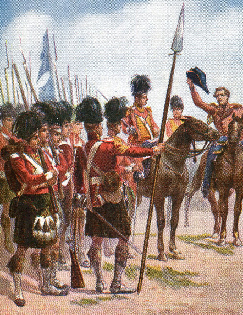 Sir John Moore encouraging the Black Watch at the Battle of Corunna, also known as the Battle of Elviña, on 16th January 1809 in the Peninsular War