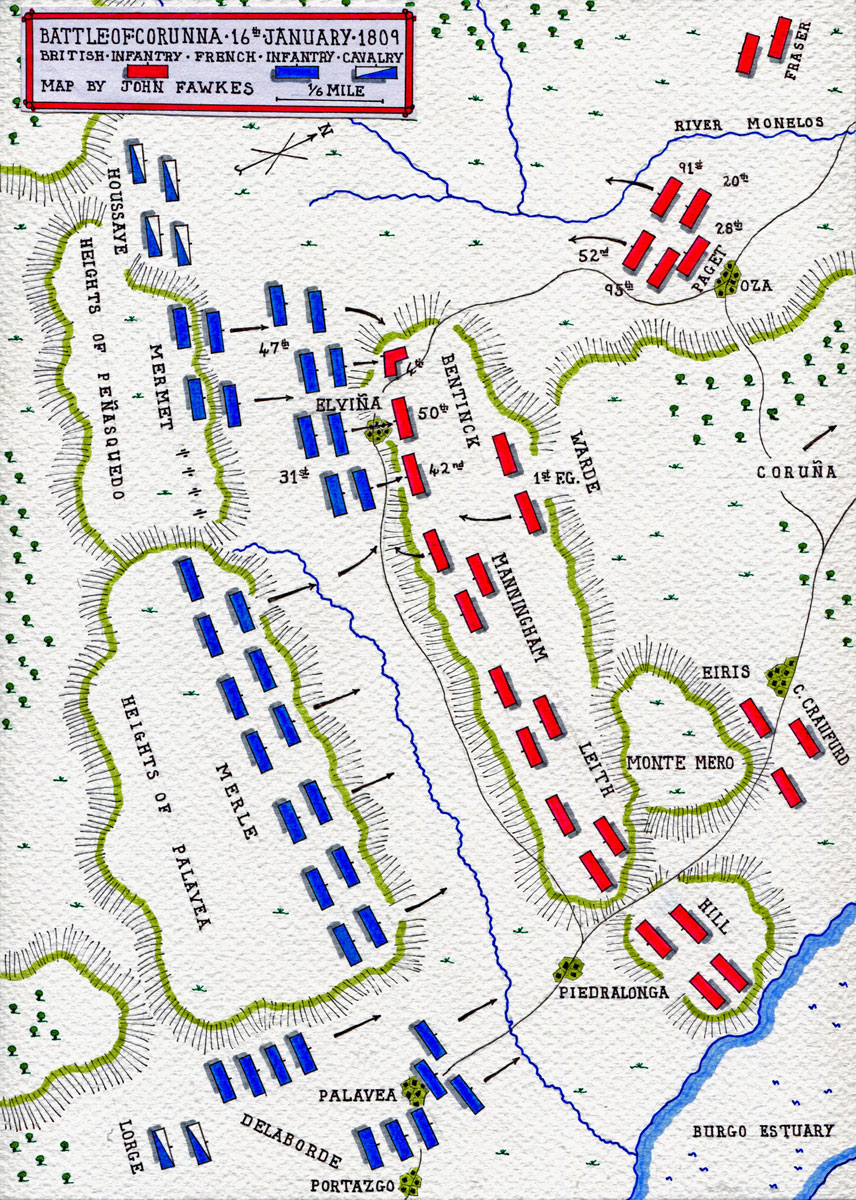 Map of the Battle of Corunna, also known as the Battle of Elviña, on 16th January 1809 in the Peninsular War: map by John Fawkes