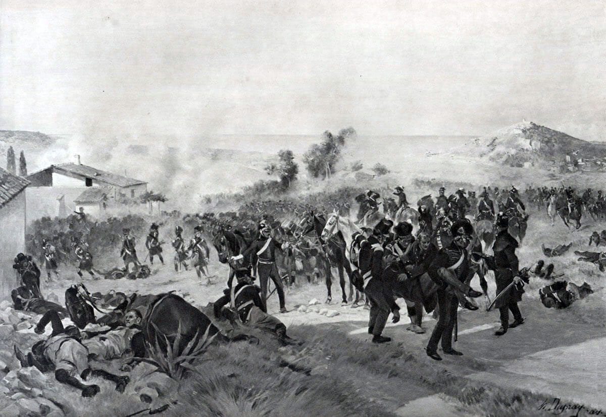 The fatally wounded Sir John Moore is carried from the field at the Battle of Corunna on 16th January 1809 in the Peninsular War: picture by Henri Dupray