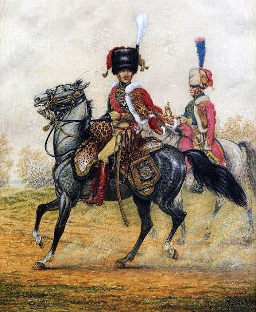 General Lefebvre-Desnouettes in uniform of the Chasseurs à Cheval of the Imperial Guard: Battle of Benevente on 29th December 1808 in the Peninsular War