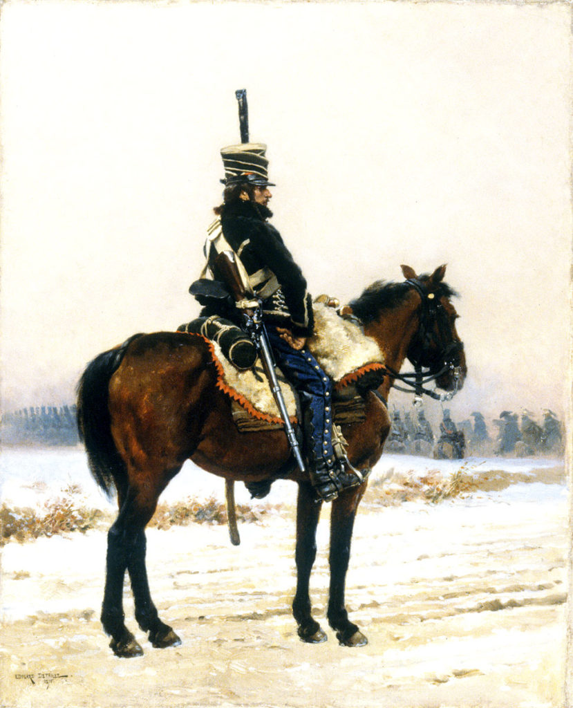 French piquet in the snow: Battle of Sahagun on 21st December 1808 in the Peninsular War: picture by Detaille