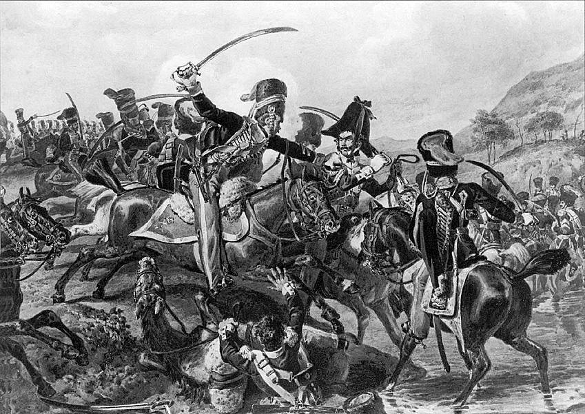 Capture of General Lefebvre-Desnoëttes at  the Battle of Benevente on 29th December 1808 in the Peninsular War: picture by Denis Dighton