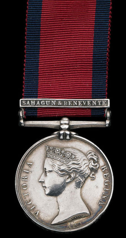 Military General Service Medal with clasp for Battles of Sahagun and Benevente, December 1808 in the Peninsular War