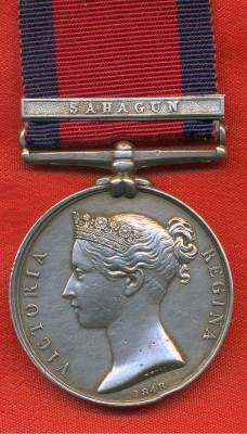 Military General Service Medal with clasp for 'Sahagun':  Battle of Sahagun on 21st December 1808 in the Peninsular War