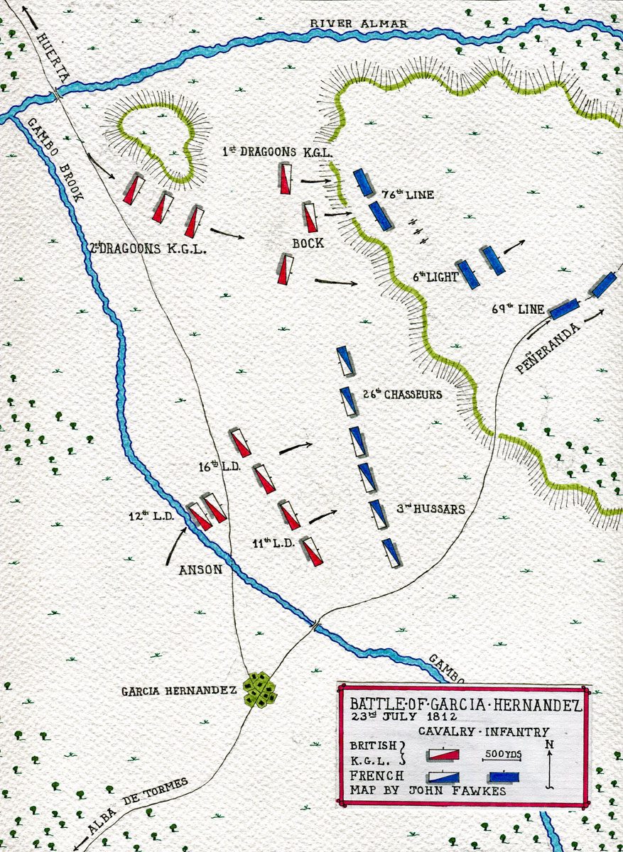 Map of the Battle of Garcia Hernandez on 23rd July 1812 in the Peninsular War: map by John Fawkes