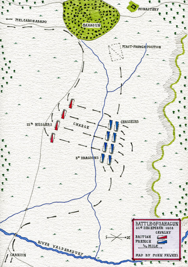 Map of the Battle of Sahagun on 21st December 1808 in the Peninsular War: map by John Fawkes