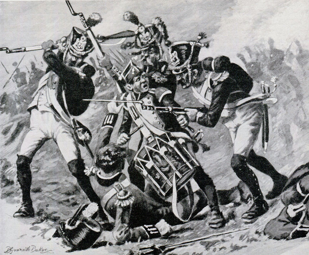 Colonel Charles Napier defended by Drummer Guibert at the Battle of Corunna, also known as the Battle of Elviña, on 16th January 1809 in the Peninsular War: picture by R. Granville-Baker