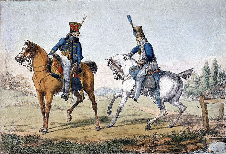 Officers of the 10th and 18th Hussars: Battle of Benevente on 29th December 1808 in the Peninsular War