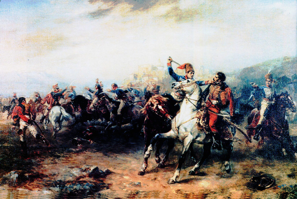 Private Levi Grisdall of the 10th Hussars seizes General Lefebvre-Desnoëttes during the Battle of Benevente on 29th December 1808 in the Peninsular War