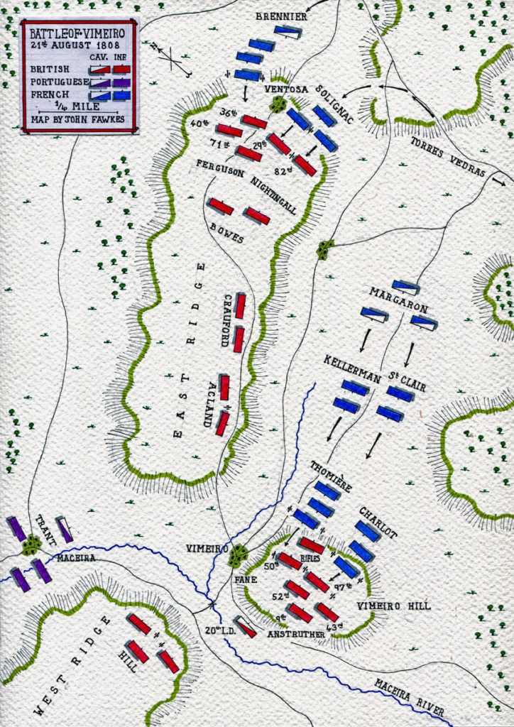 Map of the Battle of Vimeiro on 21st August 1808 in the Peninsular War: map by John Fawkes