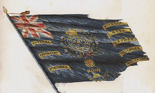 Regimental Colour of the 42nd Black Watch with the Battle of Honour of the Battle of Corunna, also known as the Battle of Elviña, on 16th January 1809 in the Peninsular War