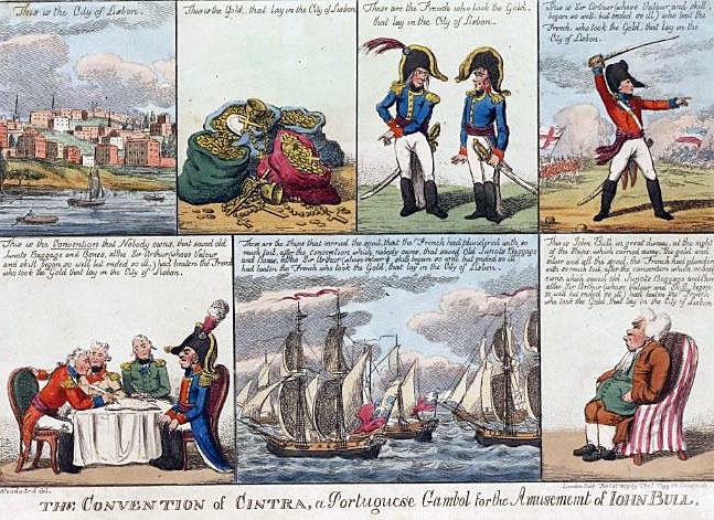 British cartoon on the Convention of Cintra: Battle of Vimeiro on 21st August 1808 in the Peninsular War