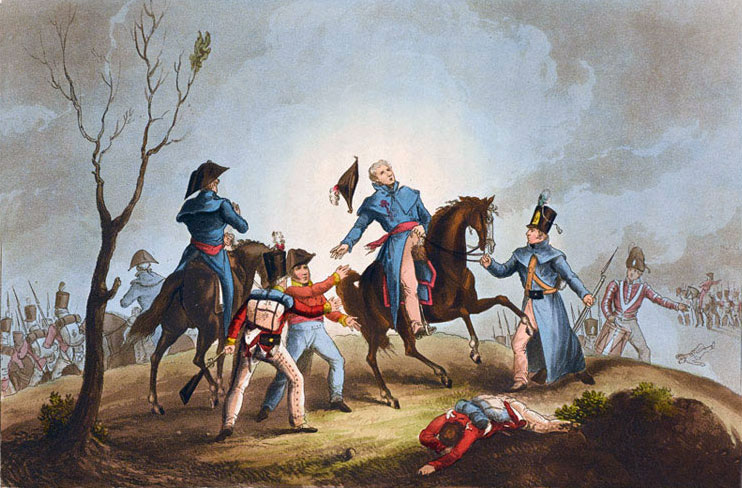 The fatal wounding of Sir John Moore at the Battle of Corunna on 17th January 1809 in the Peninsular War: picture by T Sutherland